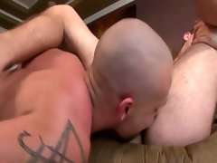 Bald gay is licking a tight ass