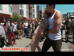 Gang Bang and Public Outdoor BDSM Gay Humiliation
