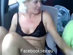 A 44 years old grandmother from Romania having sex in car in video chat