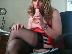sissy slut Barbi loves her toys
