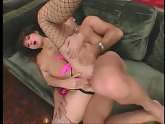 Asian anal slut gets cum on her face