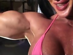 Muscle woman  worship herself
