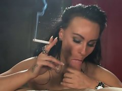 Brunette smoking sexy