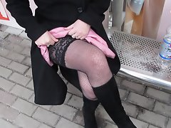 stockings flash on bus stop