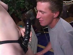 ugly man lets mistress pegg his virgin ass