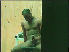 Gay man fondling cock