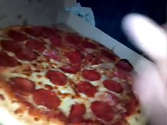 Massive cumshot on young wifes pizza spunk all over her half