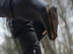 used overkneeboots &amp, shoes: leather, pantyhose, upskirt