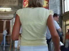 It was nice bronzed blond in a white skirt! I was fascinated