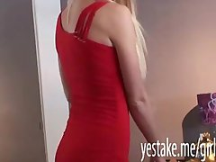 Big tits blonde awaits her bf for sex