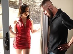 Slutty brunette wife Brandi fucks her landlord to keep her house