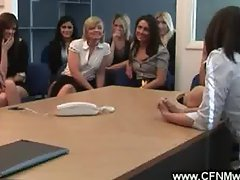 Office filled with eager horny sluts get a cock for the group