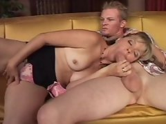 Mature couple go crazy on their sofa