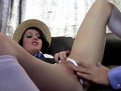 Skanky school slut pussy and throat fucked