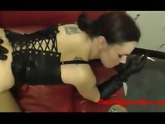 Girl in leather gets fucked from behind while smoking