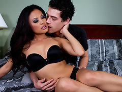 Horny Asian girlfriend Kaylani Lei has make-up sex with her BF