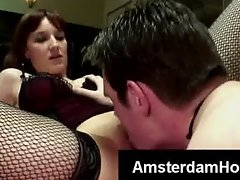 Beautiful Amsterdam slut in lingerie gets pussylicked