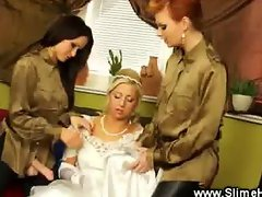 Blonde bride gets some lesbo trapon cock
