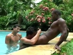 brazilian 3some pool side