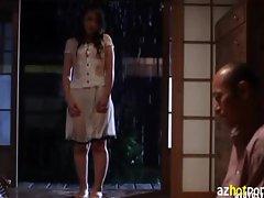 AzHotPorn.com - Wet Rain Suit Beauty Wife Provoke Desire