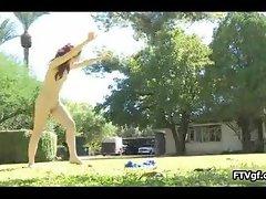 Naked Ballerina Ella loves running part1