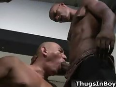 Bald guy sucking black cock and gets part2