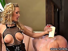 Mistress sluts pour wax on loser