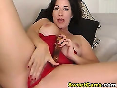 Big Tits Horny Babe Dildo Masturbating HD