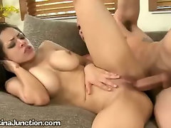 A Young Latina Goes Wild On A Living Room Sofa