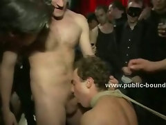 Gay man humiliated and disgraced in public rest room in dirty gangbang sex video