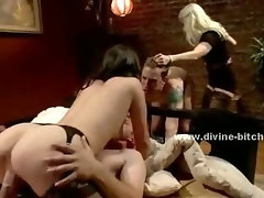 Mistress teasing and tormenting man slave in dominatrix sex video playing with him and his dick