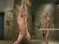 Shaved man caught by dirty cop and taken underground for punishment in bdsm brutal sex video