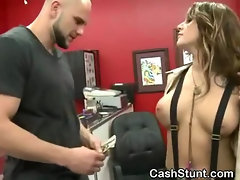 Brunette Flashes Tits And Pussy In Tattoo Shop