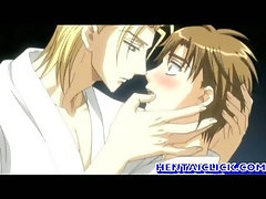 Hentai gay hot kissing and foreplay