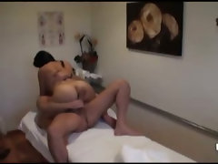 Asian masseuse riding big dick