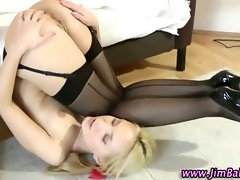 Blonde stockings amateur bitch gets a cumshot