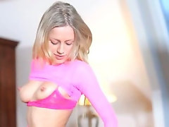 Skinny blondie with nice boobs vibrating