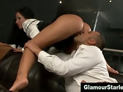 Clothed glamorous bitch gets eaten out