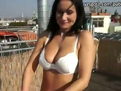 Black haired girlfriend flashes tits and ass before boning