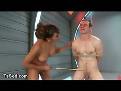 Bound guy gets blowjob and face sitting from tranny