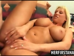 Busty blond milf loves anal