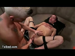 Tranny fucks and cums on a strapped guy with huge cock