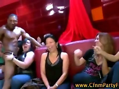 Cfnm amateur with big tits jerks male stripper at party