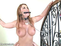 An Exciting Chained Cock Ride By The Railing