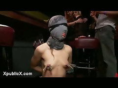 Tied up babe fucked in bar full of strangers