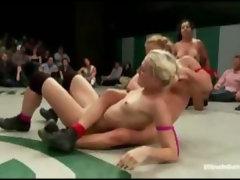 Naked girls wrestling