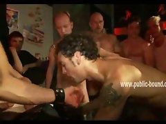 Dirty gay men gather around slave enjoying fucking his ass while he gives blowjobs