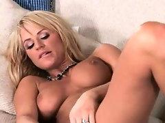 Busty hooker using huge glass vibrator