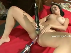 Having tons of sex toys can be a blessing if you are a busty brunette with a large sex apetite
