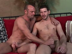Divorced str8 dude's first, very hot kissing session with his gay muscular hung gym workout buddy.